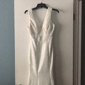 PROM white mermaid dress with gold sparkles